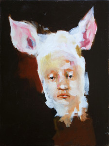 """""""Portrait of a Young Man"""" by Spencer Herr acrylic and graphite on wood 16"""" x 12"""" x 1.5"""" $800 #11274"""
