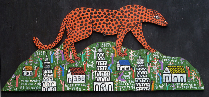 """Cheetah on the Mountain"" by Howard Finster  #7270   dated Feb 8, 1988  11"" x 27""   $7200    #11309"