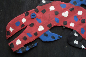 "detail ""Fish"" by David paint on metal cutout 9.5"" x 17.5"" $2000 #11311"