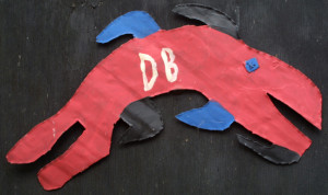 "verso signature ""Fish"" by David Butler paint on metal cutout 9.5"" x 17.5"" $2000 #11311"