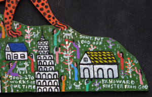 "detail ""Cheetah on the Mountain"" by Howard Finster #7270 dated Feb 8, 1988 11"" x 27"" $9000 #11309"