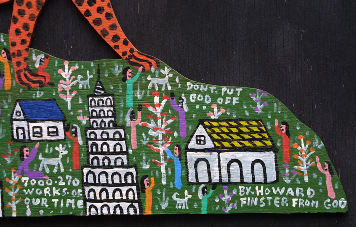 "detail ""Cheetah on the Mountain"" by Howard Finster #7270 dated Feb 8, 1988 11"" x 27"" WAS $9000 NOW $7000 #11309"