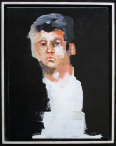 """Park Portrait II"" acrylic on canvas 11"" x 14"" 	in floater frame, natural wood side 15"" x 12"" x 1.5"" 	$600   #11346"