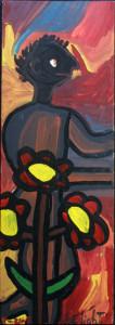 """Africian"" dated 8-31-92 by Joe Lightenamel paint on plywood 32"" x 11.25"" u $5000u (11322)"