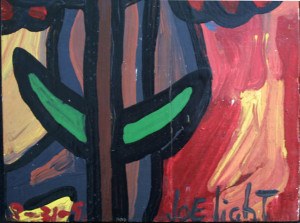 "detail sign ""Africian"" dated 8-31-92 by Joe Lightenamel paint on plywood 32"" x 11.25"" u $5000u (11322)"