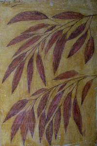 """""""Leaves"""" by Lee Godie ink on unstretched window shade canvas 25.75"""" x 17.25"""" unframed $1500 #9648"""