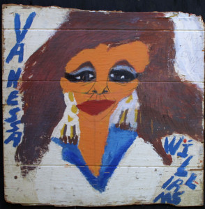 """Vanessa Williams - Latoya Jackson"" 1992 (2 sided)  by Artist Chuckie Williams  acrylic on found wood   24"" x 24""   $700  (00406)"