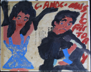 "back ""Miss Janet Jackson/ C.C. Music Factory"" dated 8/30/92 (double-sided) by Artist Chuckie Williams mixed media, glitter on canvas board 20"" x 16"" $600 (11261)"