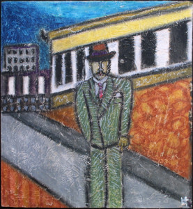 """European Man in Green Suit"" by Pak Nichols  20"" x 19""  oil pastel on wood   in black shadowbox frame   $500"