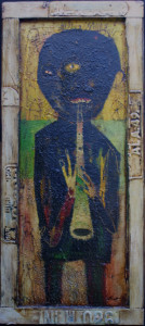 """""""Jazz Musician"""" c. 2004  by Michael Banks  mixed media on wood with found object frame 49.75"""" x 22""""  $2500  #11267"""