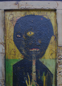 "detail ""Jazz Musician""   c. 2004  by Michael Banks  mixed media on wood with found object frame 49.75"" x 22""  $2500  #11267"