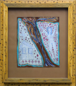 """History""  c. 2002  by Sarah Rakes    collage, acrylic paint on paper in artist's handmade incised frame  20"" x 17.5""  $1000   #11399"