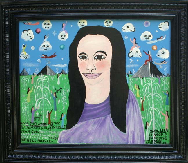"""""""Mona Lisa in Angels Paradise"""" by Howard Finster dated Dec 3, 1985 art image 14"""" x 17"""" in artist's original frame $10,000 #11432"""