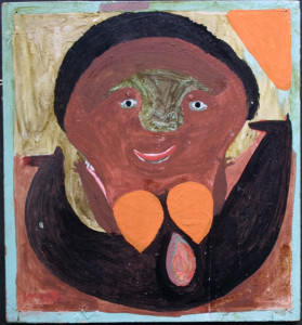 """Oyster Girl"" c. 1974 by Mose Tolliver with original hanger  oil paint on wood    17.75"" x 16.5""  Was $4800  NOW $2500   #11436"