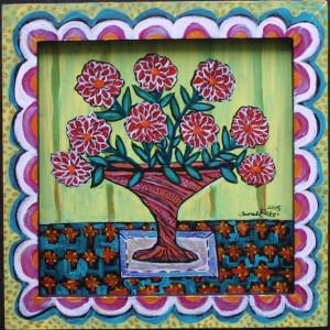 """""""Dahlias in a Sunny Room"""" by Sarah Rakes  acrylic on wood and handmade artist's painted frame  9.5"""" x 9.25""""  $230  #11440"""