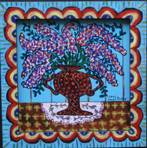 """""""Wildflowers in a Blue Room"""" by Sarah Rakes  acrylic on wood in artist's handmade wooden painted frame  9.5"""" x 9.25""""  $230  #11441"""