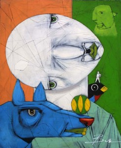 """The Relationship"" by Michael Banks  acrylic, mixed media on wood   24"" x 19.75""  in black shadowbox frame  $950   #11463"