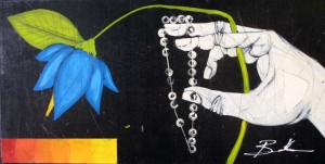 """""""Intercontinent"""" by Michael Banks acrylic, mixed media on wood 12"""" x 24"""" in black shadowbox frame $600"""