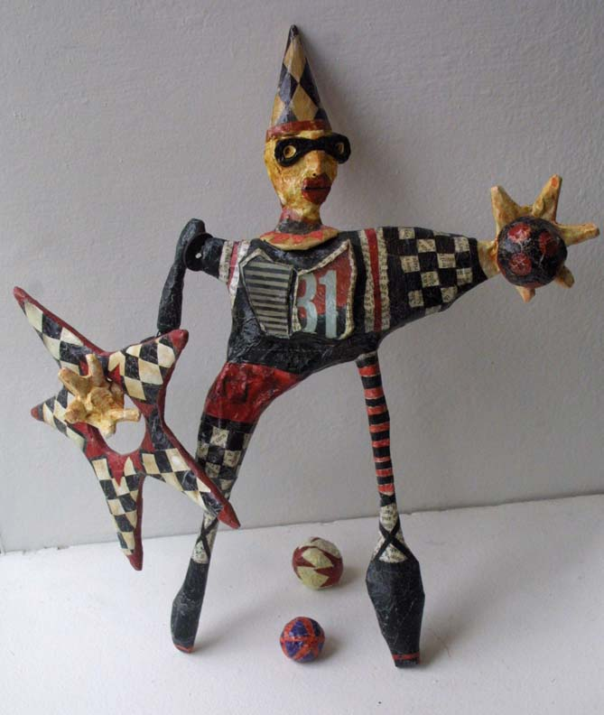 """Juggler"" by Renne Ensley   mixed media on papier mache  13.25"" x 10.5"" x 4.5""  $225   #11055"