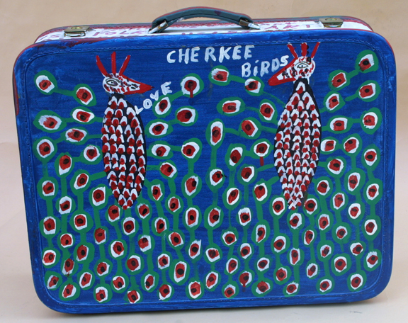 "Suitcase (American Flag & Cherokee Love Birds) dated 11-1-92 by B. F. Perkins acrylic on suitcase 17"" x 21"" x 6"" $1000 (11325)"