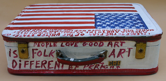 "detail top Suitcase (American Flag & Cherokee Love Birds) dated 11-1-92 by B. F. Perkins acrylic on suitcase 17"" x 21"" x 6"" $1000 (11325)"