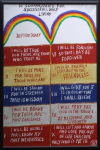 """""""Ten Commandments for Successful Daily Living""""  by B. F. Perkins  acrylic on canvas 24"""" x 36"""" $4400  (11476)"""