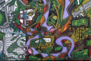 "detail ""What Would You Do For Money?"" by William ""Sezah"" mixed media on canvas, 18"" x 24""  in black frame  $2550  (11495)"