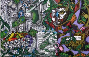 """detail """"What Would You Do For Money?"""" by William """"Sezah"""" mixed media on canvas, 18"""" x 24""""  in black frame  $2550  (11495)"""