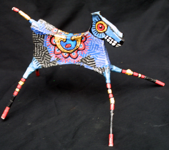 """Dancing Horse"" by Renne Ensley Mixed media, papier mache & found objects 5.5"" x 6.5"" x 10"" $198 #11054"