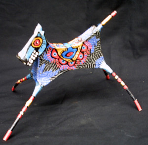 "Facing left ""Dancing Horse"" by Renne Ensley  Mixed media, papier mache & found objects  5.5"" x 6.5"" x 10""   $198   #11054"