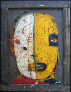 """""""Tanke"""" c. 2004 by Michael Banks  tar, acrylic, mixed media on wood  33.75"""" x 26.5""""  in artist's frame $1500   #11266"""