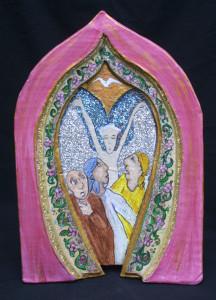 """Three Fools--Running From Angel"", acrylic on papier mache niche, 16.5"" x 11"" x 1.5"" unframed,  $900   #2913"