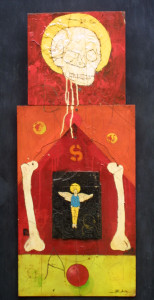 """""""Skeleton S"""" by Michael Banks  mixed media on wood   35"""" x  14.5"""" irr  unframed   $700    #9520"""
