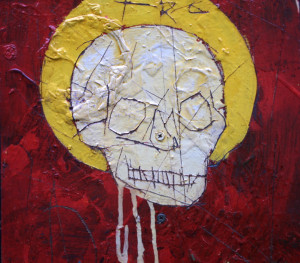 "detail ""Skeleton S"" by Michael Banks  mixed media on wood   35"" x  14.5"" irr  unframed   $700    #9520"