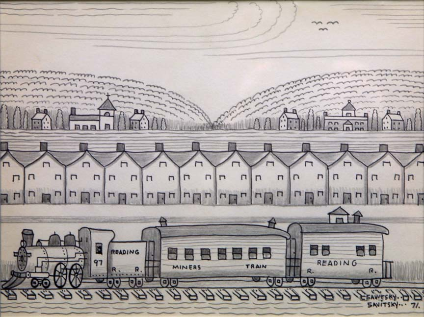 """Mining Town"" by Jack Savitsky  pencil, ink on paper  15.5"" x 18"" in black frame  $600   #11396"