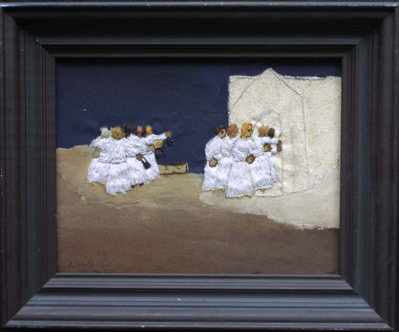 "in frame ""The Ten Maidens"" by Annie Lucas embroidrery thread, acrylic paint on canvas in artist's frame 14"" x 17"" $450 #11400"