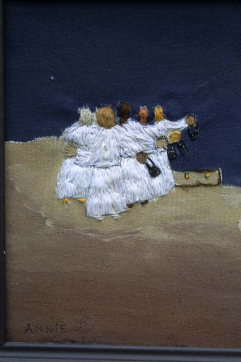 """The Ten Maidens"" by Annie Lucas embroidrery thread, acrylic paint on canvas in artist's frame 14"" x 17"" $450 #11400"