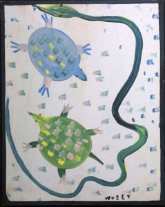 """Jim Snake and Two Ocean Turtles"" c. 1990   by Mose Tolliver  house paint on wood  30"" x 24""  $1500  #11434"