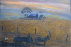 "Sunset Farm by Jean Lake oil on wood panel 24"" x 36"" unframed $3000 #11493"