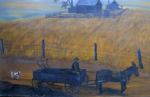 "detail Sunset Farm by Jean Lake oil on wood panel 24"" x 36"" unframed $3000 #11493"