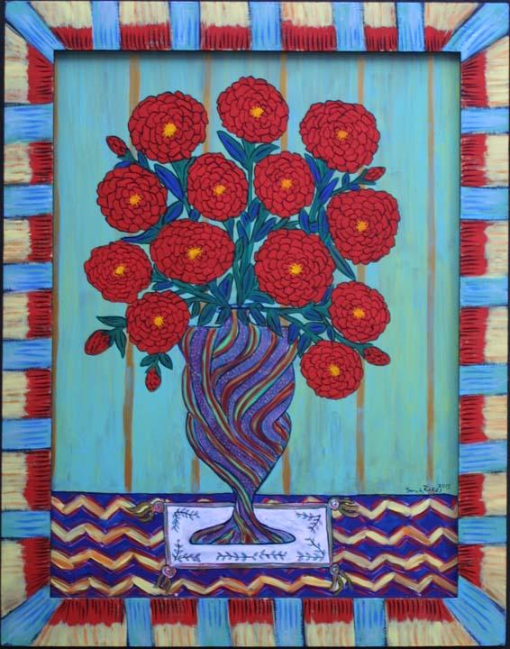 """Sunday Morning Zinnias"" by Sarah Rakes acrylic on wood panel and wood frame 27.5 x 21.5"" $975 #11517"