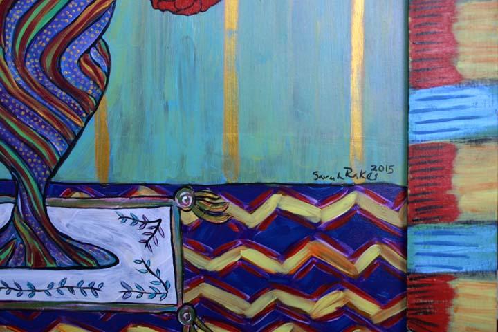 "detail ""Sunday Morning Zinnias"" by Sarah Rakes acrylic on wood panel and wood frame 27.5 x 21.5"" $975 #11517"