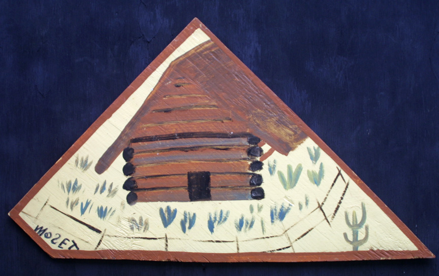 """Log Cabin"" c. 1993  painted by Charles Tolliver, signed by Mose Tolliver   house paint on wood triangle shape 17.5"" x 31""  $750  #11538"
