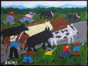 """""""Cattle Drive"""" c. 1996  by Bernice Sims  18"""" x 24""""  in black frame   $1150  #11552"""