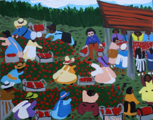 """""""Strawberry Patch"""" by Bernice Sims   acrylic on canvas 16"""" x 20""""  in black frame  $800  #11553"""