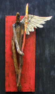 """""""Angel""""   on red  by Michael Banks  found wood, acrylic paint  aprox 32"""" x 12""""  $600  #11584"""