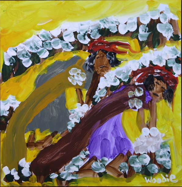"""Two Women Picking Cotton"" by Woodie Long acrylic on paper 10.5"" x 10"" unframed $375 #9291"