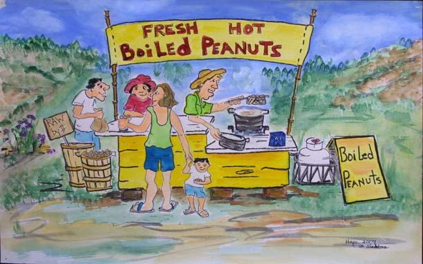 """Boiled Peanuts"" by Hope Atkinson acrylic on paper 12"" x 19"" in white archival mat with black frame $650 #9301"