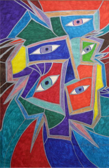 """All Eyes on You II"" by Brenda Davis  marker, pen on paper  18″ x 12″ white archival mat in black frame  $650   (10278)"