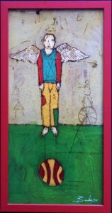 """""""Angel with Ball"""" 2003 by Michael Banks  mixed media on wood in red wooden frame  23.5"""" x 11.5""""  $800   #10454"""